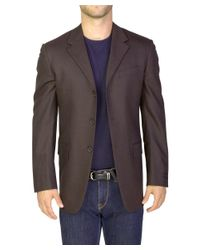 Prada - Men's Wool Three-button Suit Jacket Brown for Men - Lyst