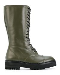 Moschino - Women's Green Leather Boots - Lyst