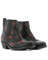 Golden Goose Deluxe Brand - Women's G30ws292c4 Black/red Leather Ankle Boots - Lyst