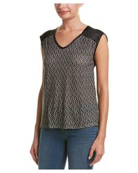 Three Dots - Black Asabi Silk-back Top - Lyst