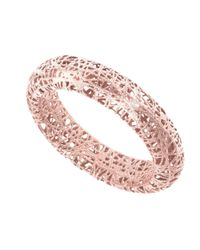 JewelryAffairs - Pink 14k Rose Gold Mesh Textured Band Ring, Size 7 - Lyst