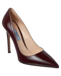 Prada - Red Saffiano Patent Pointy-toe Pump - Lyst