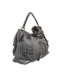 Dolce & Gabbana - Pre Owned - Gray Leather Ruffle Miss Brooke Ruffle Shoulder Bag - Lyst