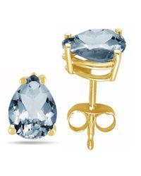 Tia Collections - 7x5 Pear Shape Aqua Earrings In 14k Yellow Gold - Lyst