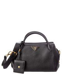 6a61a13684d6 Lyst - Prada Calf Leather Top Handle Bag in Black