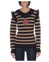 Dolce & Gabbana - Brown Dolce E Gabbana Women's Beige/black Wool Sweater - Lyst