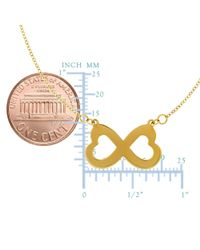 "JewelryAffairs | 14k Yellow Gold Double Heart Infinity Pendant Sign On 18"" Necklace 