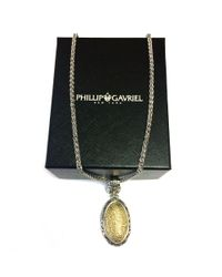 """JewelryAffairs - Metallic 18k Yellow Gold And Sterling Silver Byzantine Hammered Necklace, 18"""" - Lyst"""
