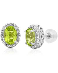 Amanda Rose Collection - Green 10k White Gold Stud Earrings Made With Swarovski Cut Peridot And White Topaz (1 3/4ct Tw) - Lyst