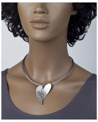 Jewelista - White Stainless Steel Wire Heart Pendant Necklace - Lyst