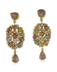 Socheec - Metallic Mixed Stone And Diamond Drop Earrings - Lyst