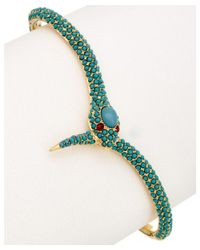 Noir Jewelry | Metallic 18k Plated Turquoise Hand Cuff | Lyst