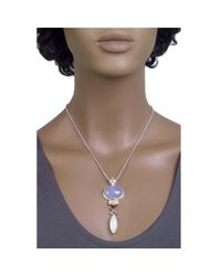 Jewelista - Silver Pendant With Blue Chalcedony, Gems - Lyst