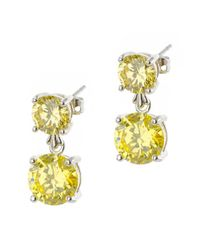 CZ by Kenneth Jay Lane - Yellow Plated Earrings - Lyst