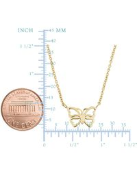"""JewelryAffairs - 14k Yellow Gold Butterfly Pendant On 17"""" To 18"""" Adjustable Necklace - Lyst"""