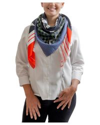 Givenchy - 1212gv Sd266 1 Navy Blue Printed Scarf - Lyst