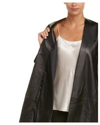 Vince - Black Silk-lined Leather Shell Coat - Lyst