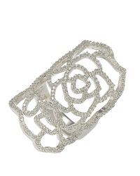 Suzy Levian - Sterling Silver White Cubic Zirconia Knuckle Flower Ring - Lyst