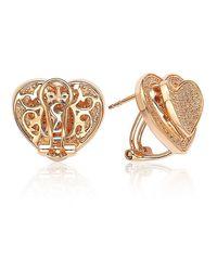 Suzy Levian - Metallic Mother's Day 'loving Heart' Cubic Zirconia Rosed Sterling Silver Earrings - Lyst