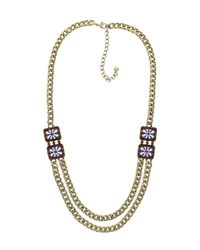 Sparkling Sage - Brown Plated Resin & Crystal Double Layer Chain Necklace - Lyst