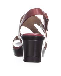 Naturalizer - Red Valerie Wedge Sandals, Dark Venom - Lyst