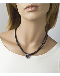 "Jewelista - Black 16"" Nitrile Rubber & Stainless Steel Pendant Necklace - Lyst"