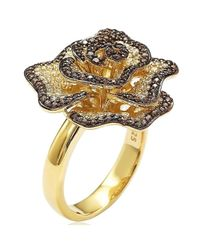 Suzy Levian - Golden Sterling Silver Brown And White Cubic Zirconia Pave Flower Ring - Lyst
