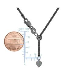 "JewelryAffairs - White Sterling Silver Black Ruthenium Plated 22"" Sliding Adjustable Sparkle Chain Necklace, 1.5mm - Lyst"