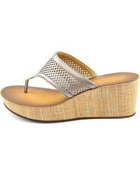 Clarks - Metallic Avaleen Ocean Women Open Toe Synthetic Bronze Wedge Sandal - Lyst