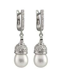 Splendid - White Fancy Cz & Pearl Dangling Earrings - Lyst