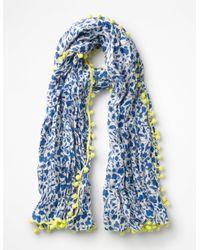Boden Blue Pompom Linen Scarf