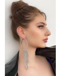 Bold Metallic Gemmed Silver Earrings - 1 Pair