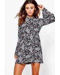 Boohoo - Black Petite Melissa Frill Sleeve Smock Dress - Lyst