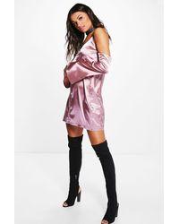 Boohoo - Pink Vera Cold Shoulder Satin Slip Shift Dress - Lyst