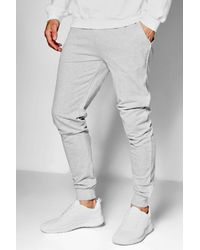 Boohoo - Gray Super Skinny Jogger With Piping for Men - Lyst