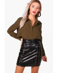 Boohoo | Green Willow Double Layer Military Shirt | Lyst