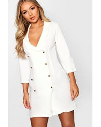 Boohoo White Double Breasted Gold Button Blazer Dress