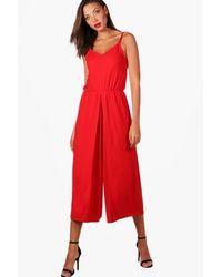 Boohoo Red Tall Wrap Split Leg Strappy Culotte Jumpsuit