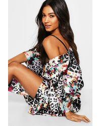 Boohoo Black Leopard & Floral Kimono Gown