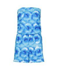 Boohoo Womens Tie Dye Jersey Beach Romper - Blue - Xs