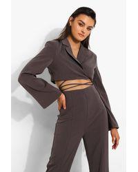 Boohoo Brown Womens Crop-Utility-Blazer Im Wickeldesign