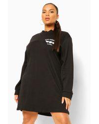 Boohoo Black Plus Basketball Pocket Print Sweat Dress