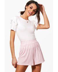Boohoo Pink Georgia Gingham Flippy Shorts