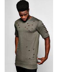 Boohoo Green Short Sleeve Destroyed Sweatshirt for men