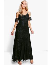 Boohoo Black Boutique Che Lace Panelled Maxi Dress