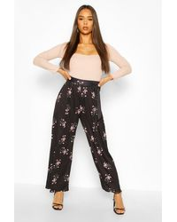 Boohoo Black Womens Floral Print Wide Leg Pants With Tie Belt