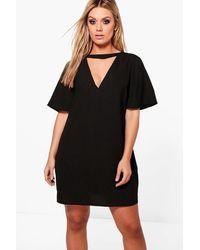Boohoo Black Plus Choker Detail Frill Sleeve Shift Dress