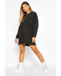 Robe Sweat Oversize À Capuche Et Lacets Boohoo en coloris Black