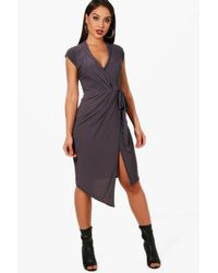 Boohoo Multicolor Wrap Front Midi Dress