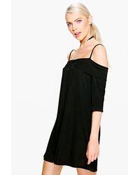 Boohoo - Black Ivy Frill Cold Shulder Button Down Shift Dress - Lyst
